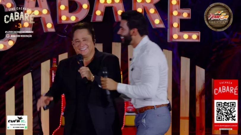 In the live broadcast, Gustavo Lima tells Leonardo that the singer has set his foot in the grave