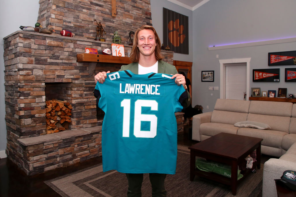 SENECA, SOUTH CAROLINA - APRIL 29: In this handout photo provided by the National Football League, quarterback Trevor Lawrence poses after being selected with the first overall pick by the Jacksonville Jaguars in the 2021 NFL Draft on April 29, 2021 in Seneca, South Carolina