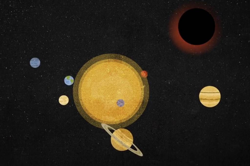 An out-of-range illustration of the solar system in the foreground with a new black hole in the background.