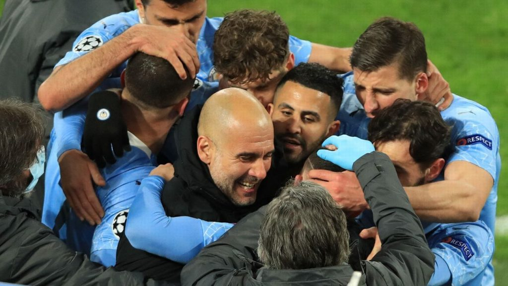 Guardiola wins a hat-trick with City, tied with Mourinho and only stands behind Ferguson.  See the list