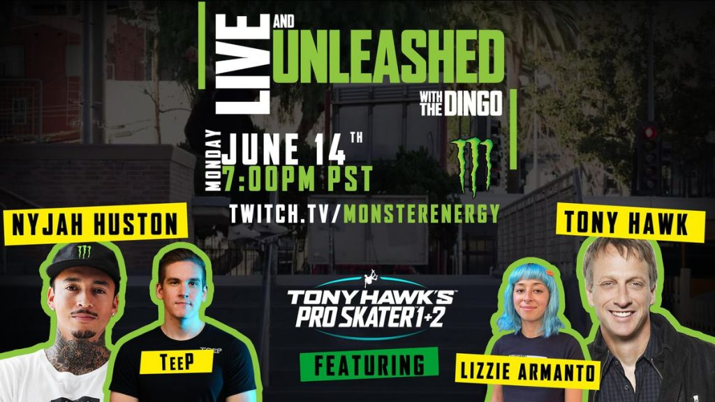 Tony Hawk and Nega Heston will skate together and play THPS 1 + 2 as they do in the new Monster Energy Twitch series