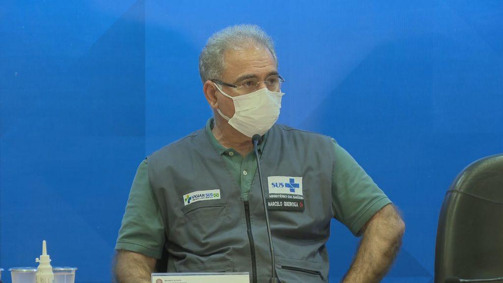 O ministro da Saúde, Marcelo Queiroga, em entrevista coletiva