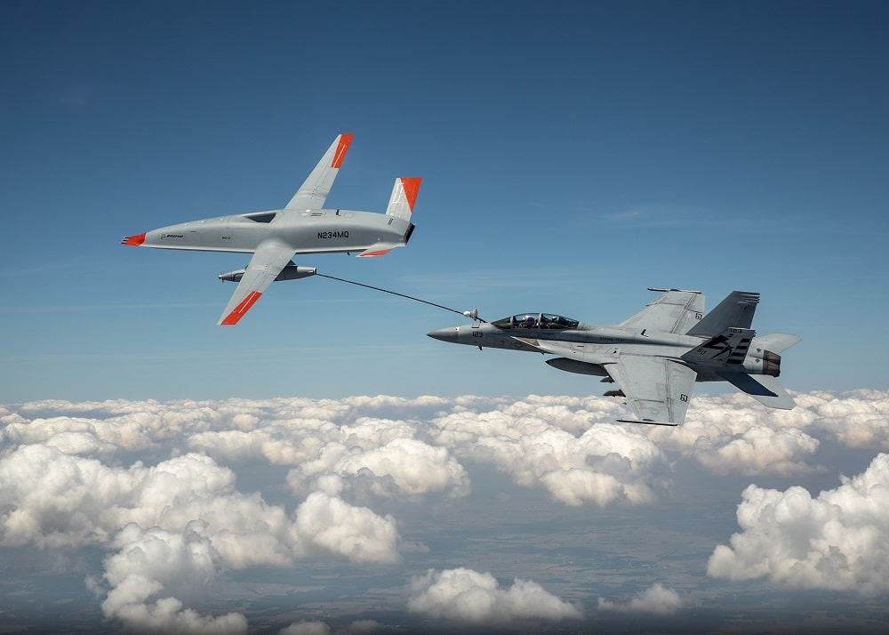 The United States uses a drone to refuel in the middle