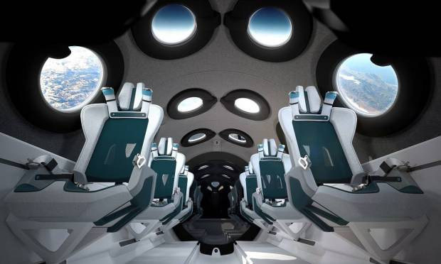 Upon launch, the ship's pilot launched into space.  The people on the spacecraft were able to feel weightlessness for a few minutes and had an idea of what it would feel like to be in suborbital space.  Pictured, the interior of the VSS Unity ship's cabin. Image: Virgin Galactic/Press Release/Via Reuters