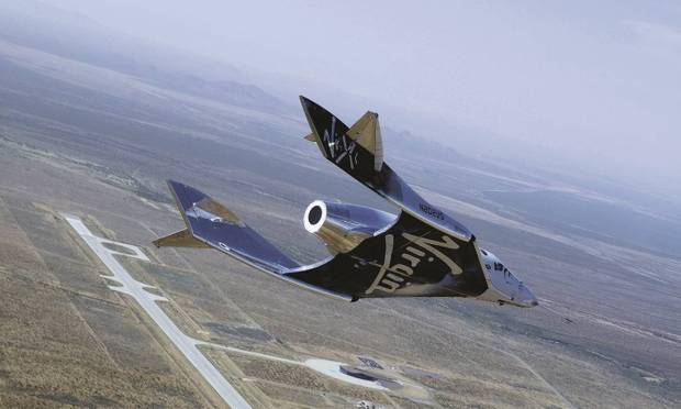 The method Virgin Galatic used to take Branson and the crew into space began with an aircraft attached to SpaceShip Two Unity.  The dual-body plane flew the spacecraft to an altitude of about 45,000 feet, where it was launched Image: Virgin Galactic/press release