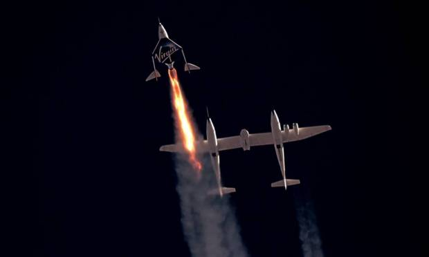 The Karman Line, the hundred-kilometre boundary between the atmosphere and space, is the new frontier between Bezos and Branson in the billionaires space race Image: Virgin Galactic / via Reuters