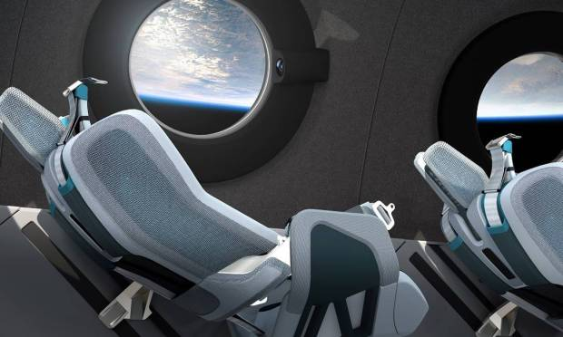 Virgin Galactic spacecraft has window-mounted cameras so passengers can take selfies with Earth in the background Image: Virgin Galactic/press release/via Reuters