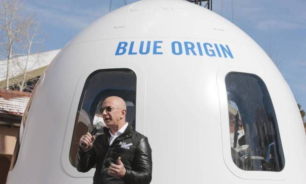 New Shepard will take off from the Blue Origin facility in West Texas.  It consists of a rocket and a capsule that can accommodate six people on board. Photo: Matthew Staver/Bloomberg