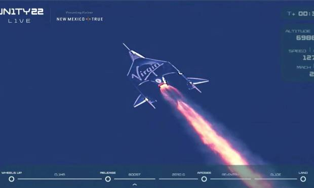 Virgin Galactic's VSS Unity passenger rocket, carrying billionaire Richard Branson and his crew, begins its ascent to the edge of space Image: Virgin Galactic/Via Reuters