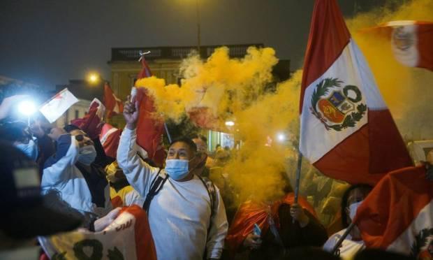 Supporters of Peruvian presidential candidate Keiko Fujimori protest against the imminent victory of leftist teacher Pedro Castillo in Lima, Peru. Photo: Alessandro Cinque/Reuters