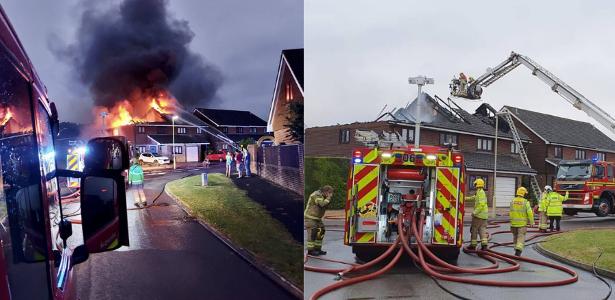 Lightning fires destroy homes in the UK