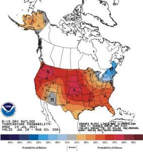 The heat dome over North America predicts higher temperatures across the continent.