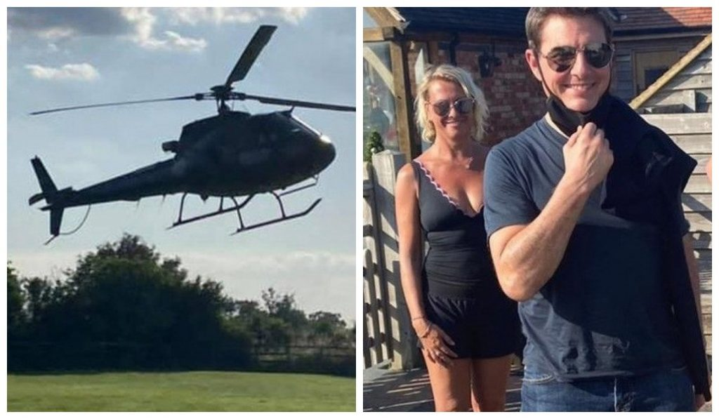 The family provides a park for a helicopter landing and Tom Cruise is surprised in the backyard