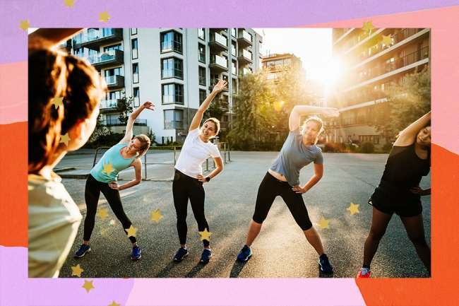 In the middle of the street, a group of women in exercise clothes appear, stretching out
