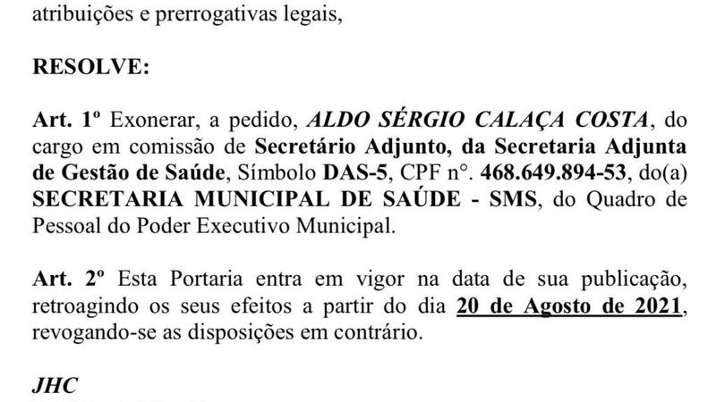 Maceió Health Adjunct dismissed after a suspected backlog of jobs and shifts in AL . government hospitals