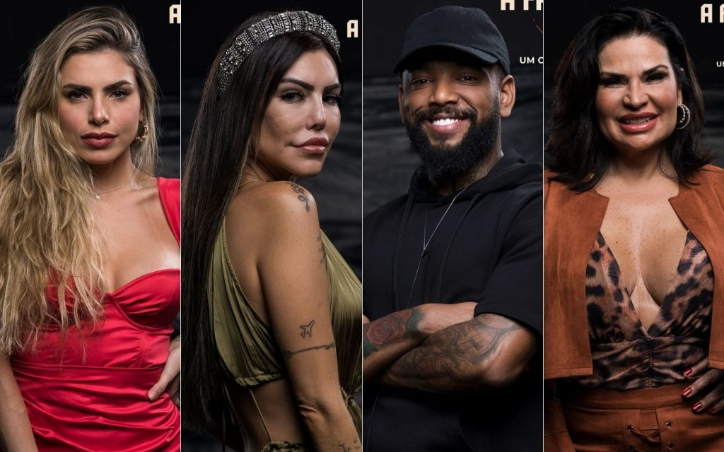 Erika, Liziane, Nego do Borel and Solange in the first Roça TV News